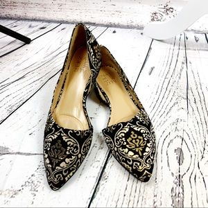 Naturalizer Black & Gold Embroidery Flats